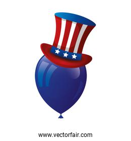 top hat traditional of usa with balloon helium