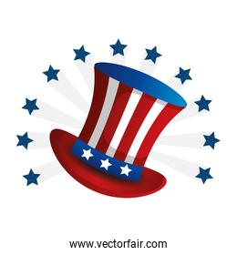 top hat traditional of usa with stars