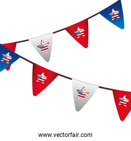 garlands hanging and stars with flag usa