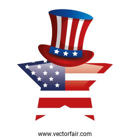 top hat with flag usa in star shape