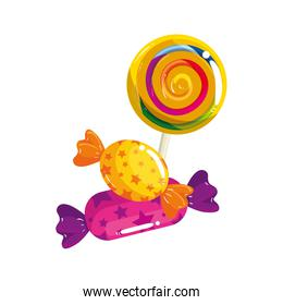 sweet lollipop with candies in wrapper isolated icon