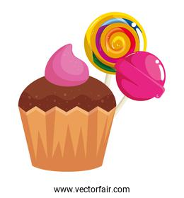 delicious cupcake with lollipops isolated icon