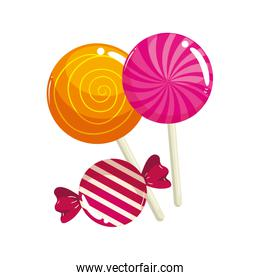 set of sweet lollipop with candy in wrap