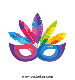 mask carnival with feathers isolated icon