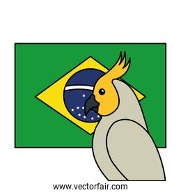 flag of brazil with parrot isolated icon