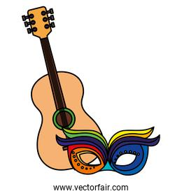 guitar with mask carnival isolated icon