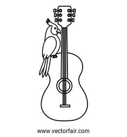 guitar with parrot bird isolated icon