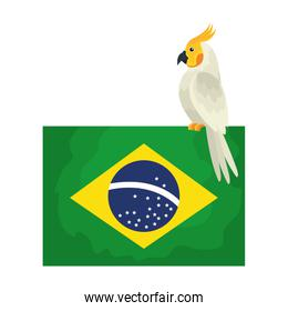 flag of brazil with parrot bird isolated icon