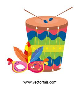 drum with mask carnival isolated icon