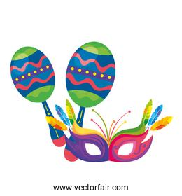 maracas with mask carnival isolated icon