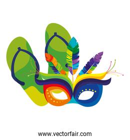 flip flops with mask carnival and feathers
