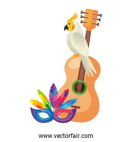 guitar with parrot and mask carnival isolated icon