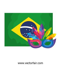 flag of brazil with mask carnival isolated icon