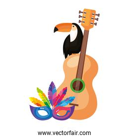 toucan with guitar and mask carnival