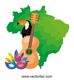 map brazil with toucan and icons traditional