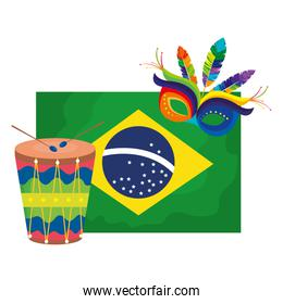 flag of brazil with mask carnival and drum