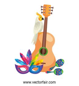 guitar with parrot and icons traditional
