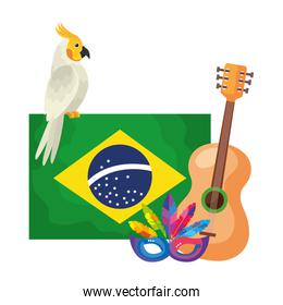 flag of brazil with parrot and icons traditional