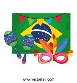 flag of brazil with mask carnival and maracas