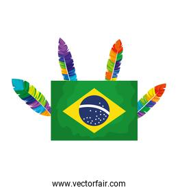 flag of brazil with feathers isolated icon