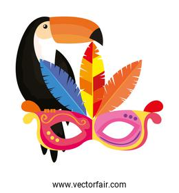 toucan with mask carnival isolated icon