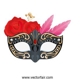 elegant mask with feathers and roses flowers