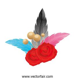 feathers elegants with rose flowers decoration