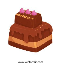 delicious brownie chocolate isolated icon