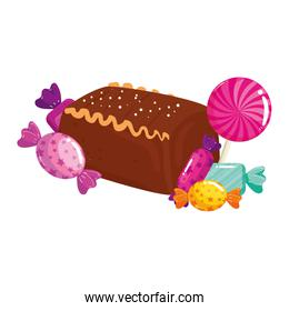 delicious cake chocolate with candies isolated icon