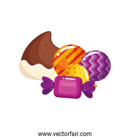 delicious chocolate chip with candies isolated icon