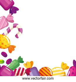 frame of delicious candies decoration