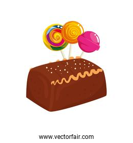 delicious cake chocolate with lollipops isolated icon