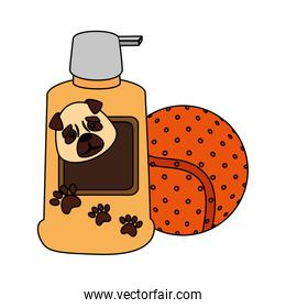 dog care bottle with ball toy  icon