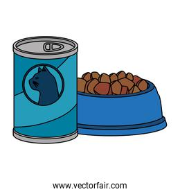 dish and food for cat in can   icon