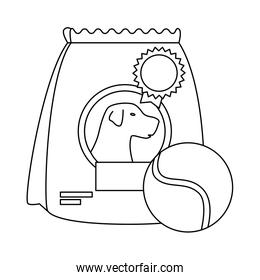 bag of food for dog with ball toy isolated icon
