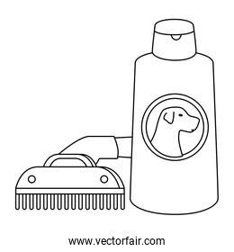 comb pet with dog care bottle isolated icon