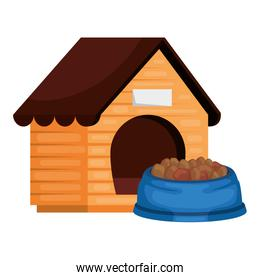 wooden dog house with food animal