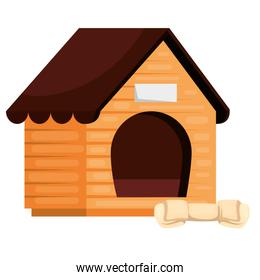 wooden dog house with bone isolated icon