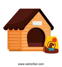 wooden dog house with bag food animal isolated icon