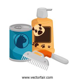 dog care bottle with comb and food cat in can