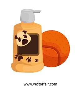 dog care bottle with ball toy isolated icon