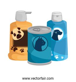dog care bottles with food cat in can