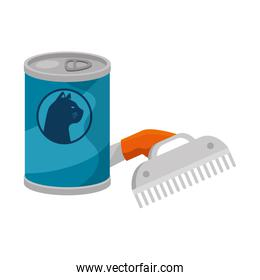 comb pet with can food cat isolated icon