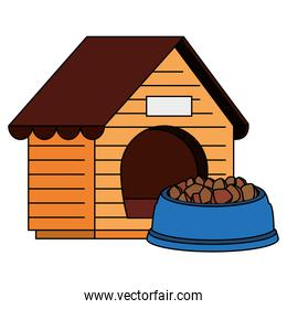 isolated wooden dog house with food animal