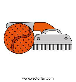 comb pet with ball toy isolated icon