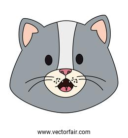 face of cute little cat animal icon