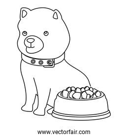 cute dog with dish food line style icon