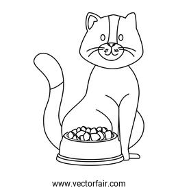 cute little cat with dish food line style icon