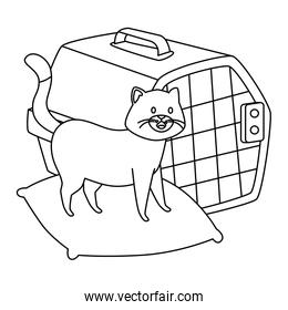 cute dog in cushion and carry box line style icon