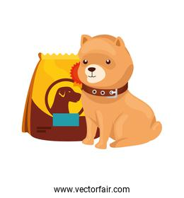 cute dog with bag food isolated icon
